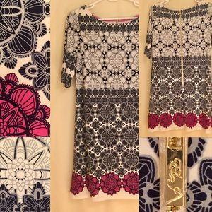 Eliza J patterned jersey shift stretch knit dress.